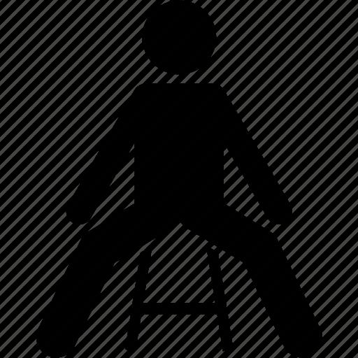 chair, leg, man, sit, sitting, spread icon