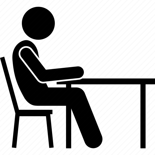chair, people, sitting, table icon