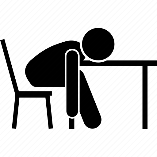 chair, exhausted, man, sitting, sleeping, table, tired icon