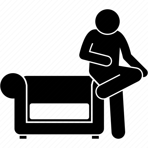 arm rest, couch, man, people, sitting, sofa icon