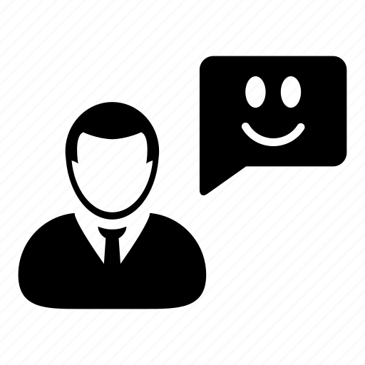 bubble, businessman, happy, message, smile, speech, talk icon