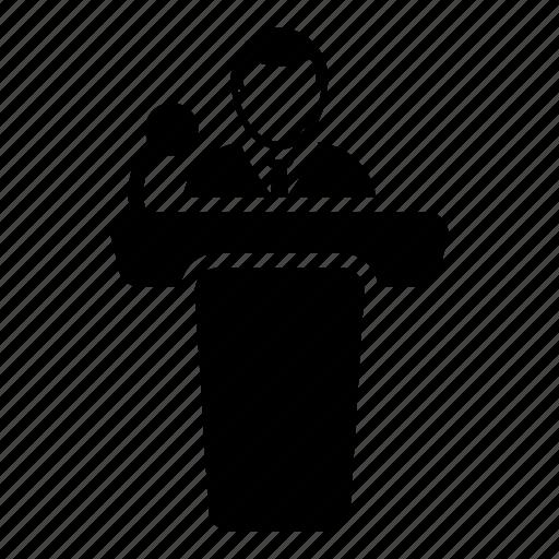 businessman, conference, man, meeting, podium, presentation, public speaker icon