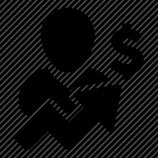 arrow, avatar, business, dollar, finance, growth, money icon