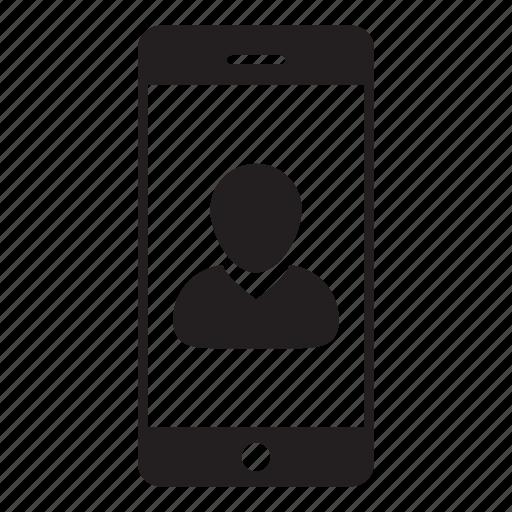 login, man, mobile, person, profile, smartphone, user icon