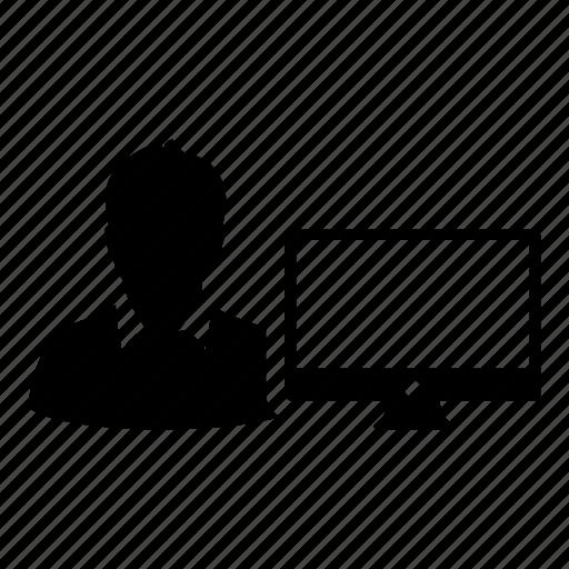 computer, man, monitor, online, person, presentation, user icon