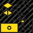 computer, designer, dimention, man, worker icon