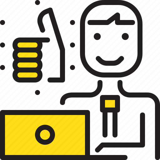computer, man, media, online, social, worker, yellow icon