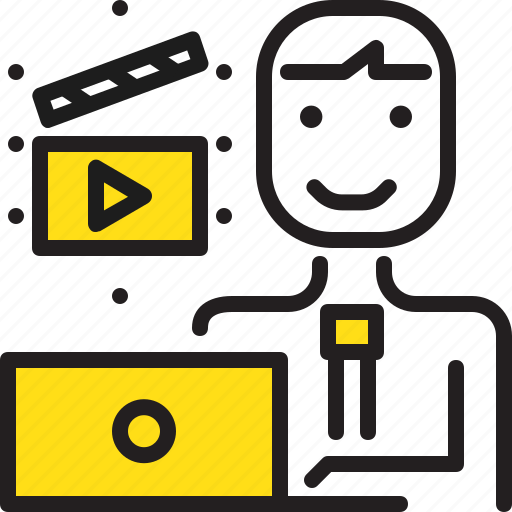 cinema, computer, editor, man, worker, yellow icon