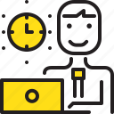 clock, computer, man, time, worker, yellow icon