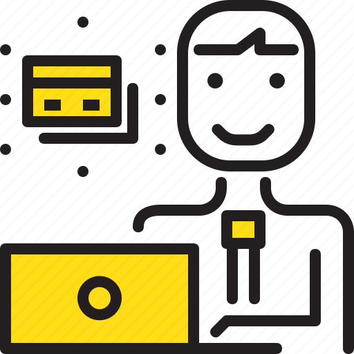 card, computer, credit, man, online, worker, yellow icon