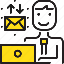 computer, email, man, worker, yellow icon