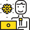 computer, gear, man, worker, yellow icon