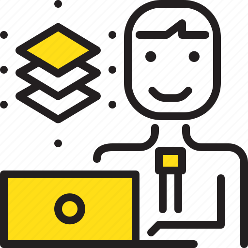 computer, graphic, layer, man, worker, yellow icon