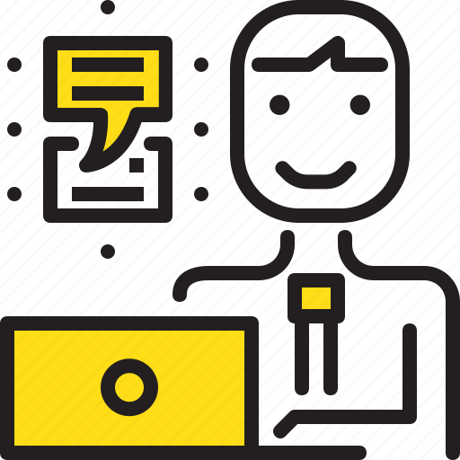 chat, computer, man, talk, worker, yellow icon