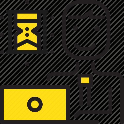 computer, man, sandglass, time, worker, yellow icon