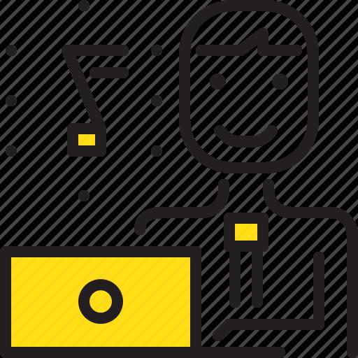 computer, engineer, man, music, sound, worker, yellow icon