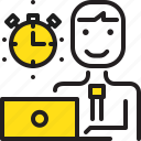 computer, man, stopwatch, time, worker, yellow icon