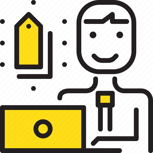 computer, man, online, promotion, tag, worker, yellow icon