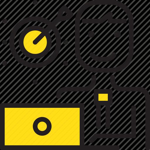 arrow, computer, dart, man, tarket, worker, yellow icon
