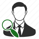avatar, business, employee, find, scout, search, user icon