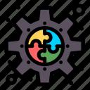 connect, gear, piece, plugin, puzzle icon