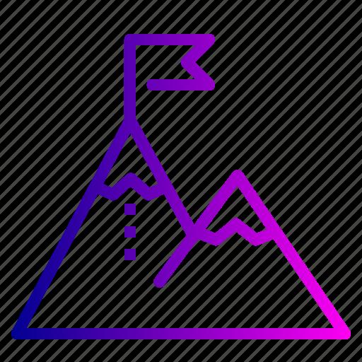 achievement, flag, mountain, success icon