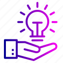 bulb, cogwheel, concept, development, idea, lamp, light icon