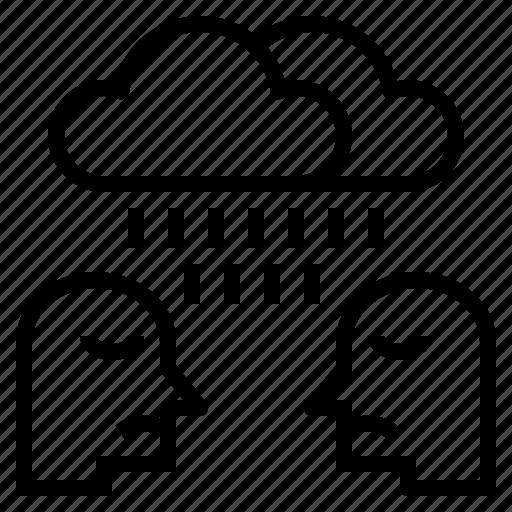 depress, depression, gloom, rain, sad, unhappy icon