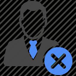 avatar, closed, delete, manager, profile, remove, user icon