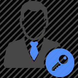 avatar, key, lock, manager, profile, safe, user icon