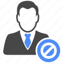 avatar, ban, forbidden, man, manager, profile, user icon