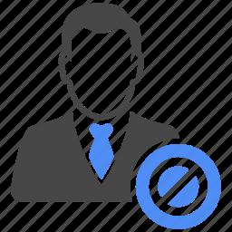 avatar, ban, forbidden, man, manager, profile, user icon