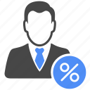 profile, manager, user, percentage, percent, finance, avatar icon