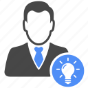 avatar, bulb, business, finance, idea, manager, profile icon