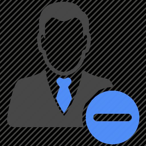 avatar, delete, manager, minus, profile, remove, user icon