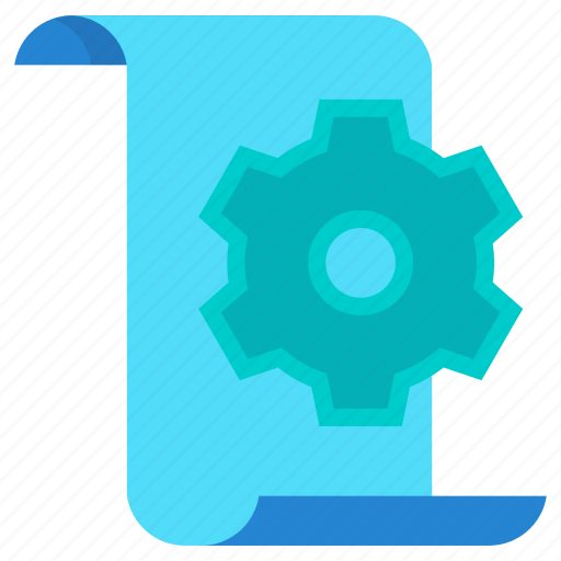 document, gear, plan, settings, terms icon