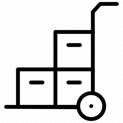 box, delivery, package, trolly, wheel icon