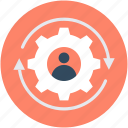 cog, leader, man, management, team head icon