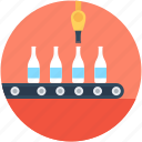 bottle conveyor, bottle product ection, conveyor belt, distribution service, soda production icon