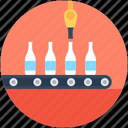 bottle conveyor, bottle product ection, conveyor belt, distribution service, soda production icon
