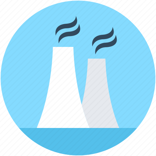 cooling tower, nuclear plant, power plant, power station, powerhouse icon