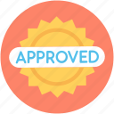 approved sticker, label, product sticker, sticker, success icon