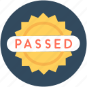 label, passed sticker, product sticker, sticker, success icon