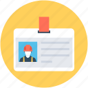 employee card, id, identity card, labor card, volunteer card icon