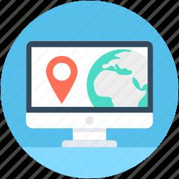 gps, laptop, location finder, online map, online navigation icon