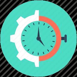 gear, gearwheel, industry, time settings, timer icon
