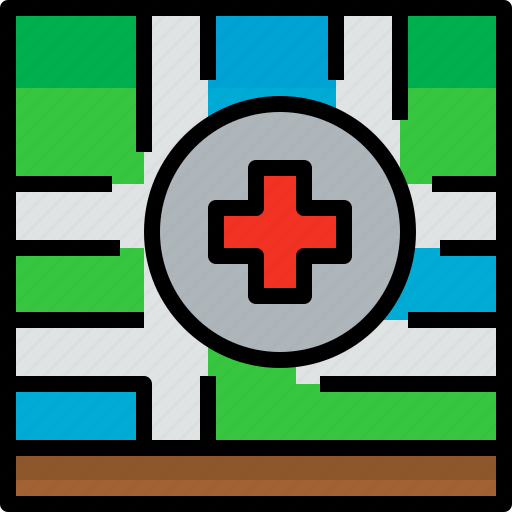 direction, hospital, location, navigator, position, route, way icon