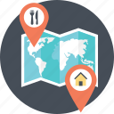 home location, location finder, location pointer, place finder, restaurant location icon