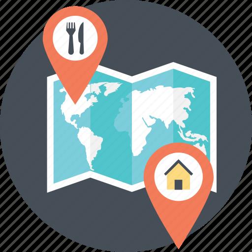 home location, location finder, location pointer, place finder, restaurant location icon