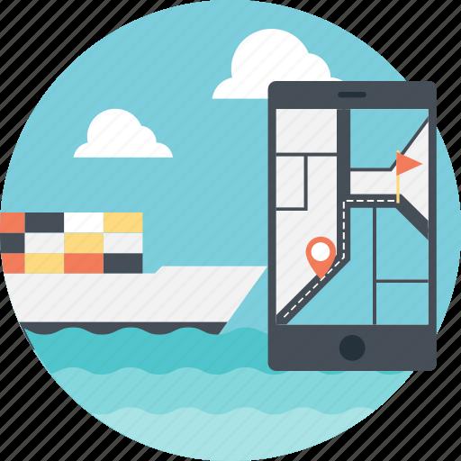 marine navigation, marine navigation app, navigation and shipping, ship tracking, shipping navigation icon